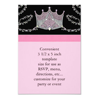 Pink Black Baby Girl Princess Baby Shower RSVP Card