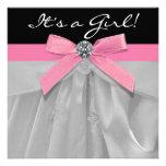 Pink Black Baby Girl Shower Invitations