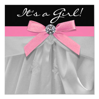 Pink Black Baby Girl Shower Invitations