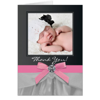 Pink Black Baby Photo Thank You Cards