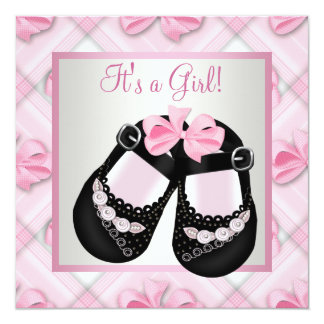 Pink Black Baby Shoes Pink Black Baby Girl Shower 5.25x5.25 Square Paper Invitation Card