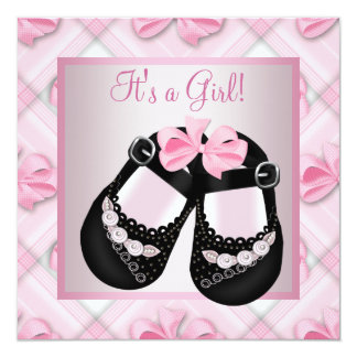 Pink Black Baby Shoes Pink Black Baby Girl Shower Personalized Announcement