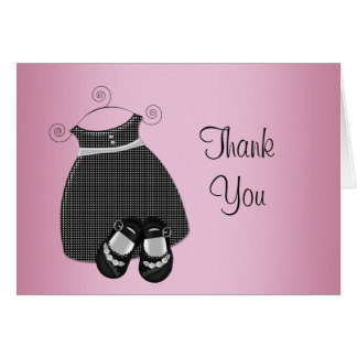Pink Black Baby Shower Thank You Cards
