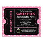 Pink/ Black Bachelorette Party Ticket Invitation