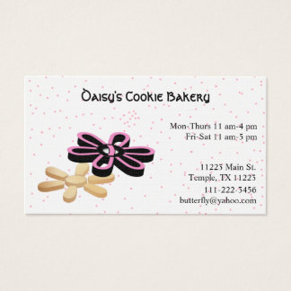 Pink & Black Bakery with Cookies Business Card