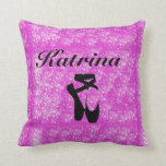 Pink & Black Ballerina Throw Pillow