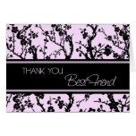Pink Black Best Friend Bridesmaid Thank You Card