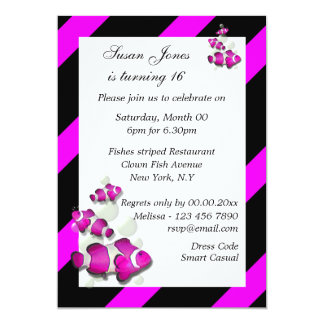 Pink black birthday engagement PERSONALIZE 5x7 Paper Invitation Card