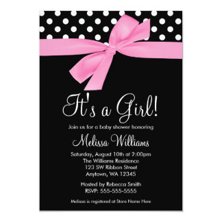 Pink Black Bow Polka Dot Baby Shower Invitations