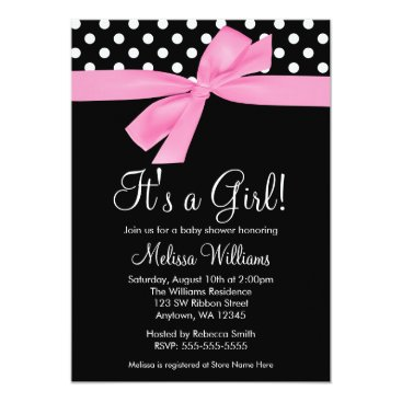 Toddler & Baby themed Pink Black Bow Polka Dot Baby Shower Invitations