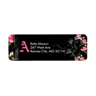 Pink & Black Bow Return Address Labels