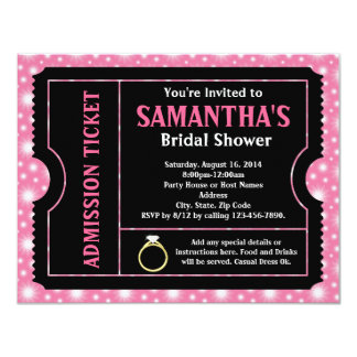 Pink/ Black Bridal Shower Ticket Invitation