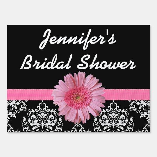 pink black bridal shower yard sign