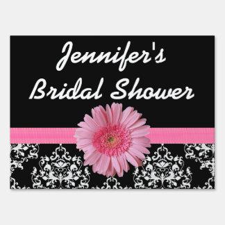 Pink & Black Bridal Shower Yard Sign
