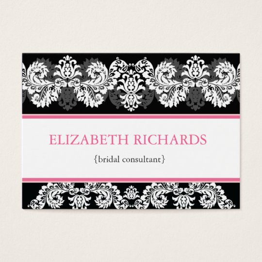 Pink & Black Brocade Chubby Business Card