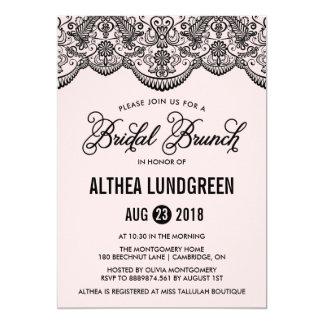 "Pink & Black Brocade Lace Bridal Brunch Invitation 5"" X 7"" Invitation Card"