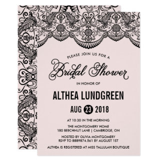 Pink & Black Brocade Lace Bridal Shower Invitation