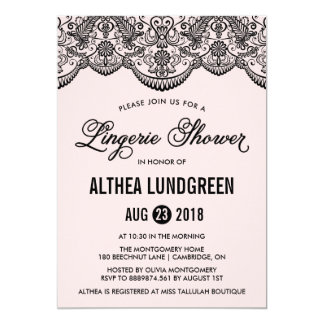 Pink & Black Brocade Lace Lingerie Shower Invite