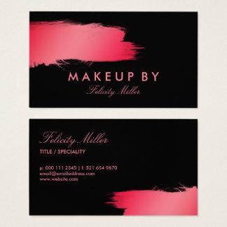 Pink & Black Brushstroke Makeup Business Card