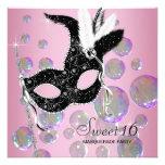 Pink Black Bubbles Sweet Sixteen Masquerade Party Custom Invite