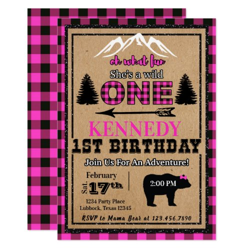 Pink Black Buffalo Plaid Girl Birthday Invitation