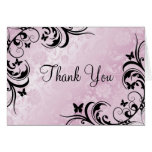 Pink & Black Butterfly & Flower Thank you card
