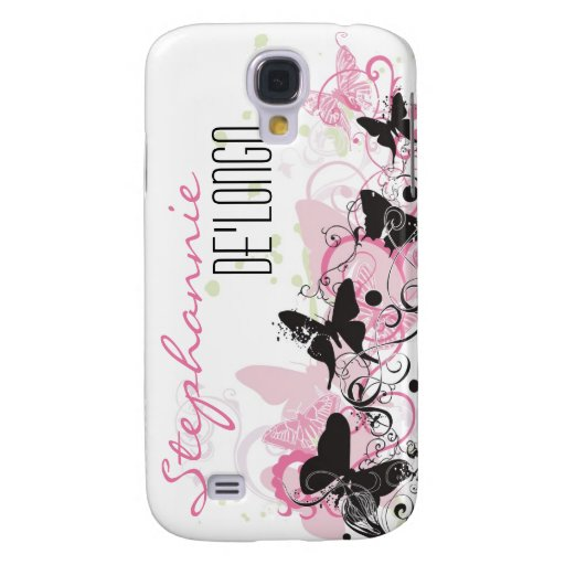 Pink Black Butterfly Personalized iPhone 3 Case