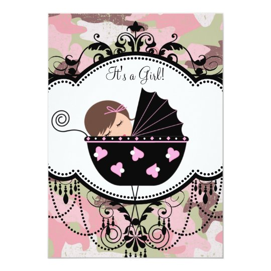 Pink Black Camouflage Baby Girl Shower Invitations