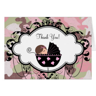 Pink Black Camouflage Baby Thank You Cards