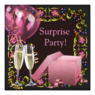 Pink Black Champagne Balloons Surprise Party Card