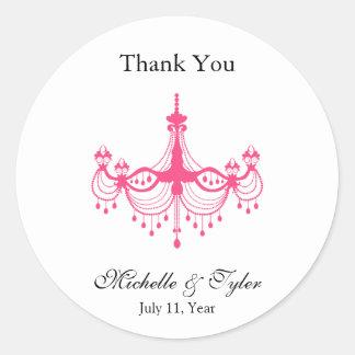 Pink & Black Chandelier Favour Stickers