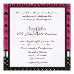"Pink & Black Chandelier Wedding Invite 5.25"" Square Invitation Card"