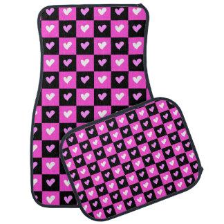 Pink & Black Checked Love Hearts Pattern Car Mat