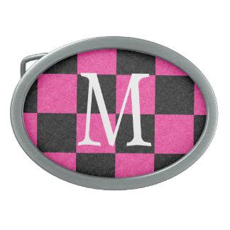 Pink Black Checkerboard Belt Buckle