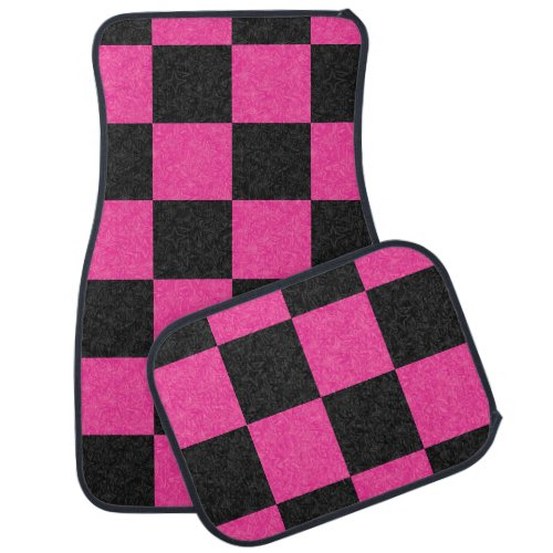 Pink Black Checkerboard Car