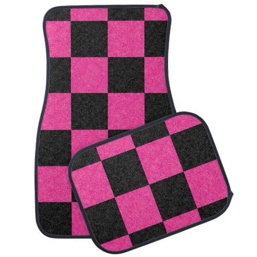 Pink Black Checkerboard Car