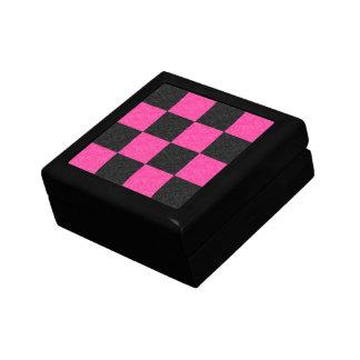 Pink Black Checkerboard Keepsake Box