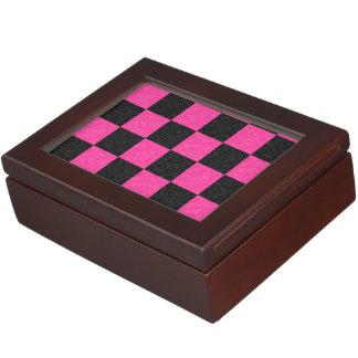 Pink Black Checkerboard Memory Box