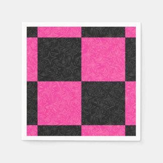 Pink Black Checkerboard Paper Napkin