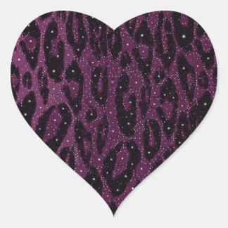 Pink Black Cheetah Stars Heart Sticker