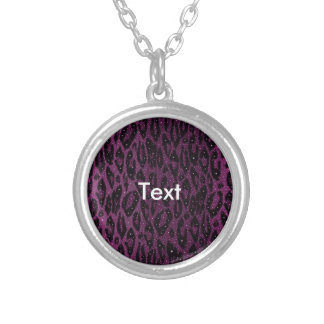 Pink Black Cheetah Stars Round Pendant Necklace