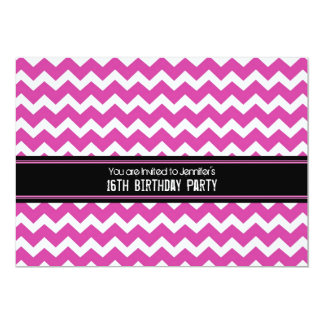 Pink Black Chevron 16th Birthday Party Invitations