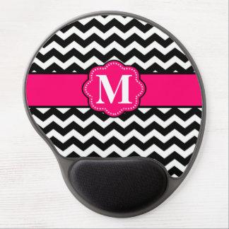 Pink Black Chevron Monogram Mousepad Gel Mouse Pad