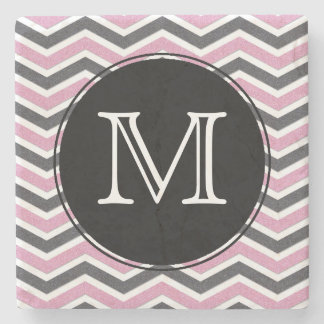 Pink & Black Chevron Monogram Stone Coaster