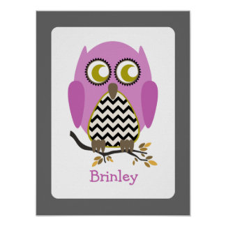 Pink + Black Chevron Owl Nursery Artwork Poster