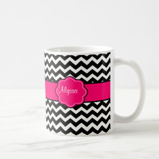 Pink Black Chevron Personalized Mug
