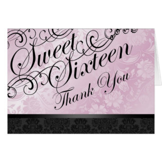 Pink & Black Chic Floral Damask Thank You card