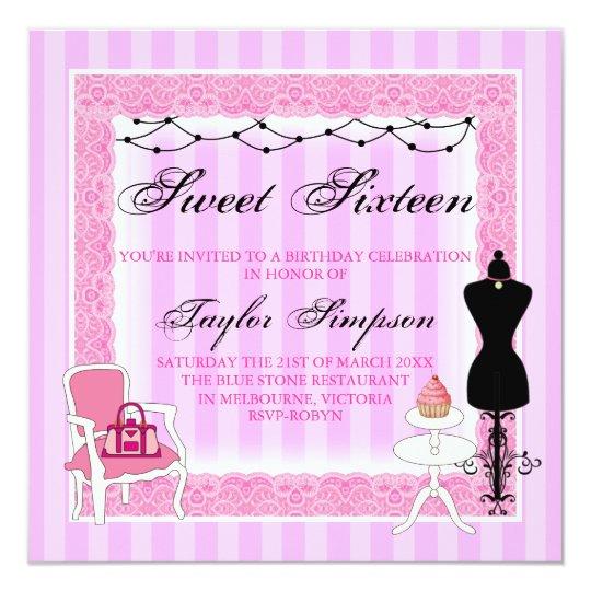 Pink & Black Chic Sweet16 Birthday invite