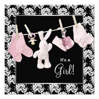 Pink Black Clothesline Baby Girl Shower Invite