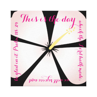 Pink & Black Colored Hibiscus Canvas Bible Verse